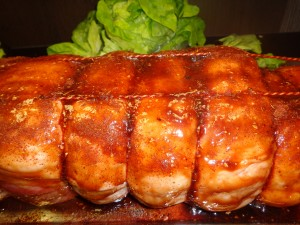 ribroast rollade met zoete ui en honing